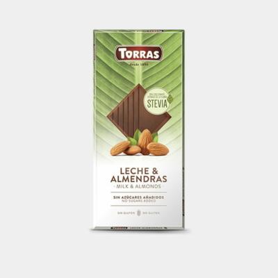 Torras Stevia mandulás tejcsokoládé édesítőszerrel 125g