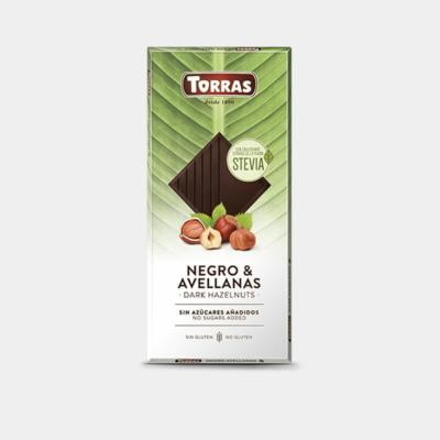 Torras Stevia mogyorós étcsokoládé édesítőszerrel 125g